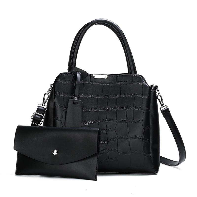 The Dianna 2 Bag Set - Black-Handbag Set-ElegantFemme