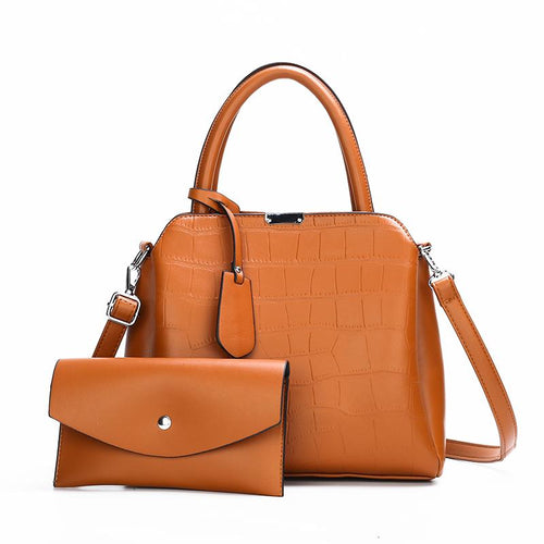The Dianna 2 Bag Set - Brown-Handbag Set-ElegantFemme