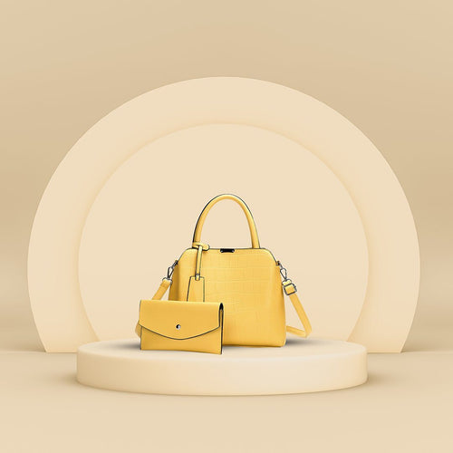 The Dianna 2 Bag Set - Yellow-Handbag Set-ElegantFemme