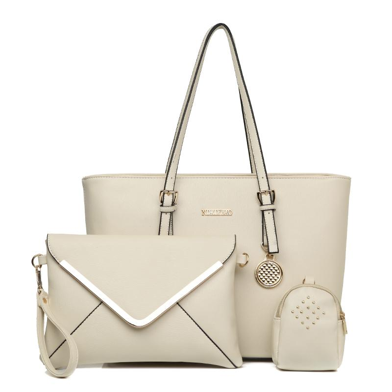 The Jacqui 3 Bag Set in Beige-Handbag Set-ElegantFemme