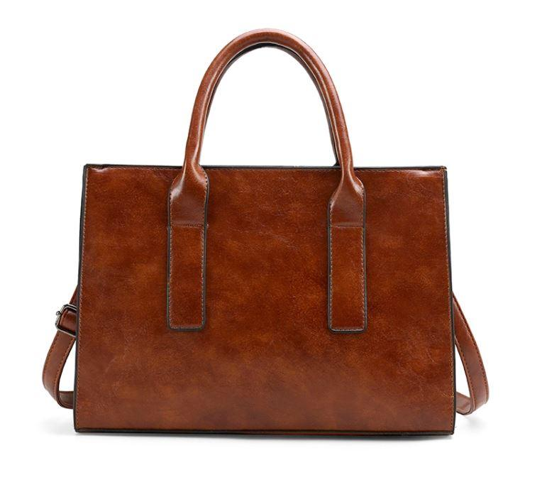 The Miranda Satchel Bag in Brown-Handbag-ElegantFemme