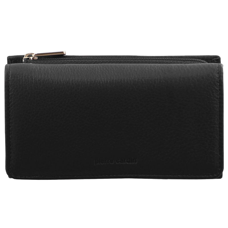 PIERRE CARDIN RUSTIC LEATHER LADIES WALLET (PC8776) - BLACK-Ladies Wallet-ElegantFemme