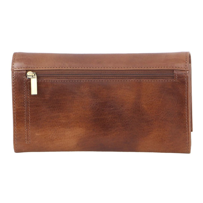 PIERRE CARDIN RUSTIC LEATHER LADIES WALLET (PC8785) - COGNAC-Ladies Wallet-ElegantFemme