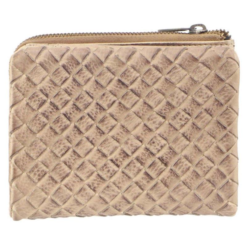 PIERRE CARDIN WOVEN RUSTIC LEATHER WOMENS WALLET (PC3125) - LATTE-Ladies Wallet-ElegantFemme