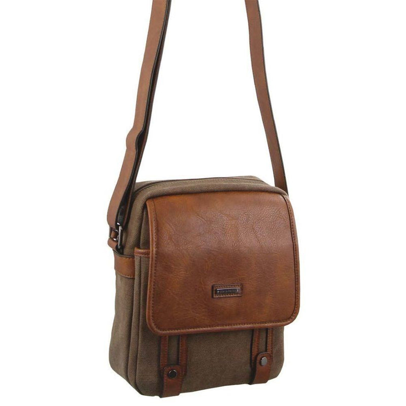 PIERRE CARDIN CANVAS CROSS BODY BAG (PC2580) - BROWN-Unisex Crossbody Bag-ElegantFemme