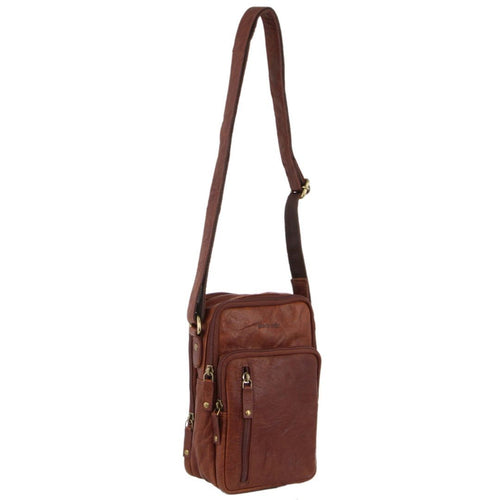 PIERRE CARDIN RUSTIC LEATHER CROSS-BODY BAG (PC3129) - CHESTNUT-Men's Crossbody Bag-ElegantFemme