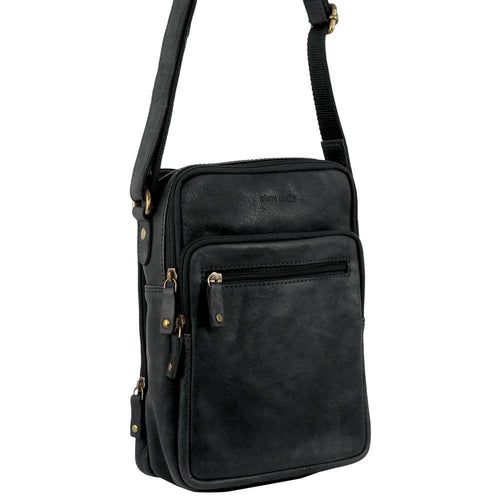 PIERRE CARDIN RUSTIC LEATHER CROSS-BODY BAG (PC3130) - BLACK-Men's Crossbody Bag-ElegantFemme