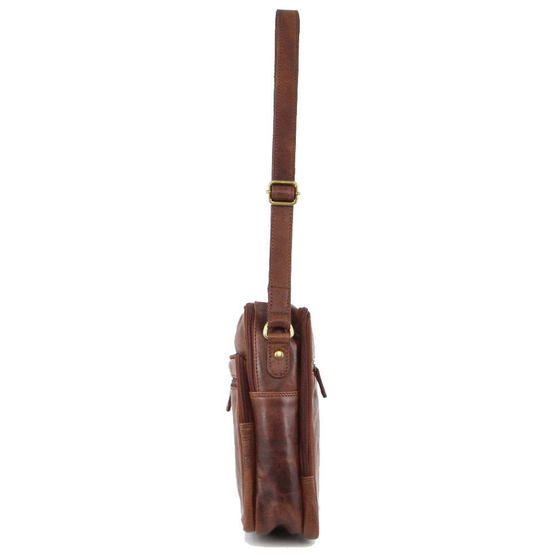 PIERRE CARDIN RUSTIC LEATHER CROSS-BODY BAG (PC3130) - CHOCOLATE-Men's Crossbody Bag-ElegantFemme