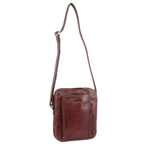 PIERRE CARDIN RUSTIC LEATHER CROSS BODY BAG (PC3230) - MAHOGANY-Unisex Crossbody Bag-ElegantFemme
