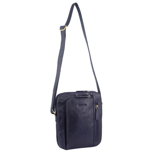 PIERRE CARDIN RUSTIC LEATHER CROSS BODY BAG (PC3230) - MIDNIGHT-Men's Crossbody Bag-ElegantFemme