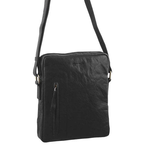 PIERRE CARDIN RUSTIC LEATHER CROSS BODY/TABLET BAG (PC2794) - BLACK-Men's Crossbody Bag-ElegantFemme