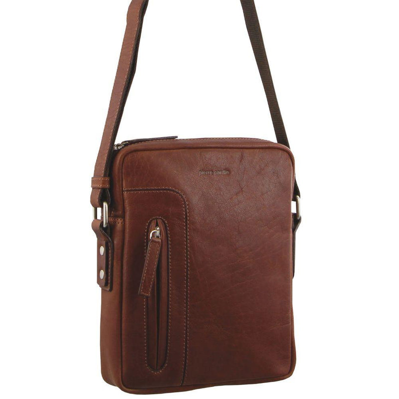 PIERRE CARDIN RUSTIC LEATHER CROSS BODY/TABLET BAG (PC2794) - CHESTNUT-Men's Crossbody Bag-ElegantFemme