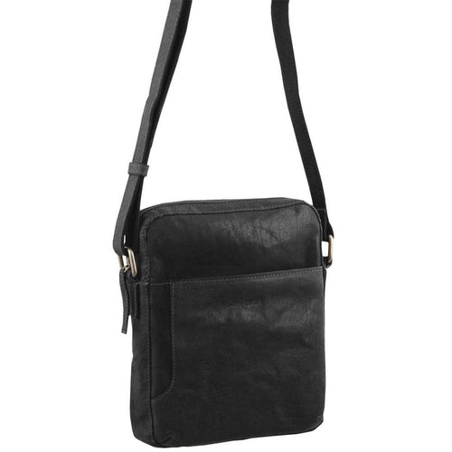 PIERRE CARDIN RUSTIC LEATHER CROSS BODY/TABLET BAG (PC2795) - BLACK-Men's Crossbody Bag-ElegantFemme