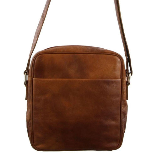 PIERRE CARDIN RUSTIC LEATHER IPAD BAG (PC2800) - COGNAC-Men's Crossbody Bag-ElegantFemme