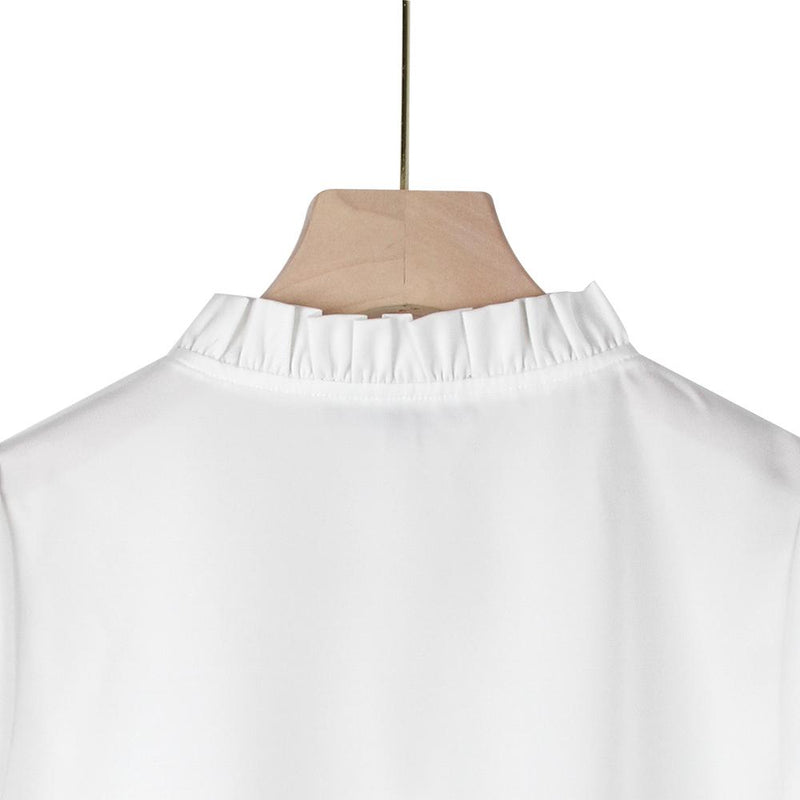 Satin Top Pearl White-Satin Half Sleeve Top-ElegantFemme