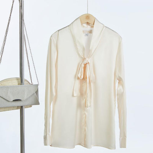 Pearl White Satin Shirt With Sophisticated Neck Tie-Shirt-ElegantFemme