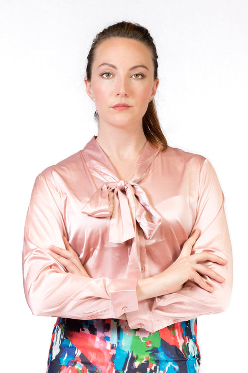 Pink satin shirt with sophisticated neck tie-Shirt-ElegantFemme