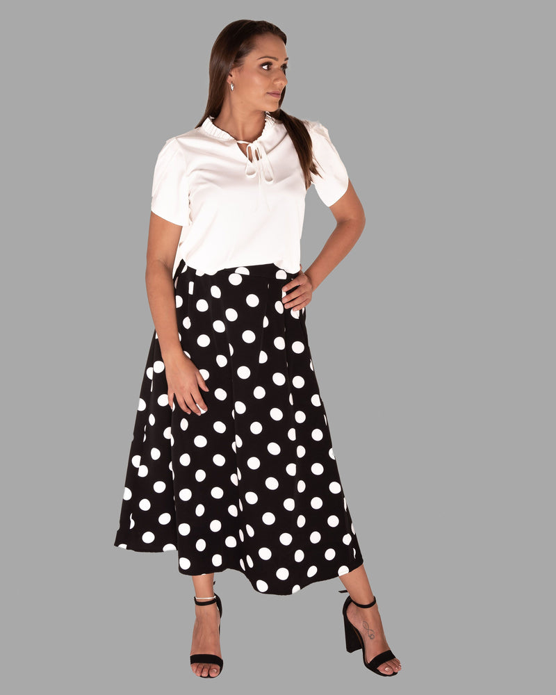Black and white polka dot skirt-Skirt-ElegantFemme