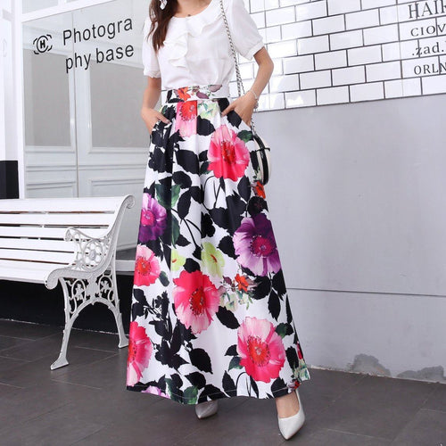 Floral skirt beautiful print-Skirt-ElegantFemme