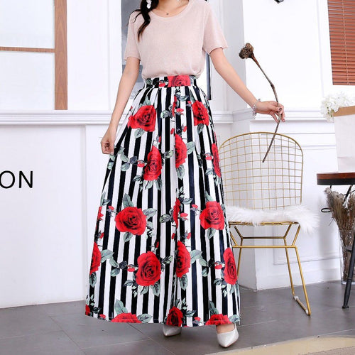 Printed Extra Long Skirt - Rose-Skirt-ElegantFemme