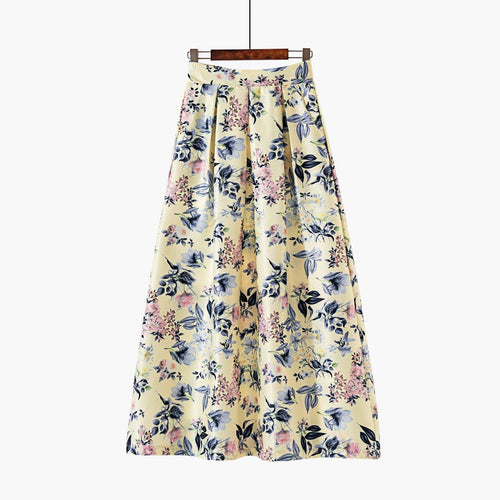 Printed Extra Long Skirt - Yellow Garden-Skirt-ElegantFemme