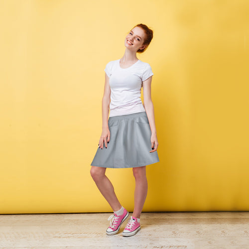 Soft Cotton Skirt with Pockets - Light Grey-Skirt-ElegantFemme