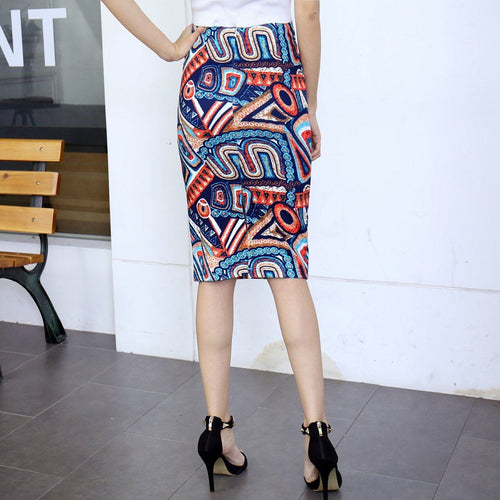 Straight Printed Tube Skirt-Skirt-ElegantFemme
