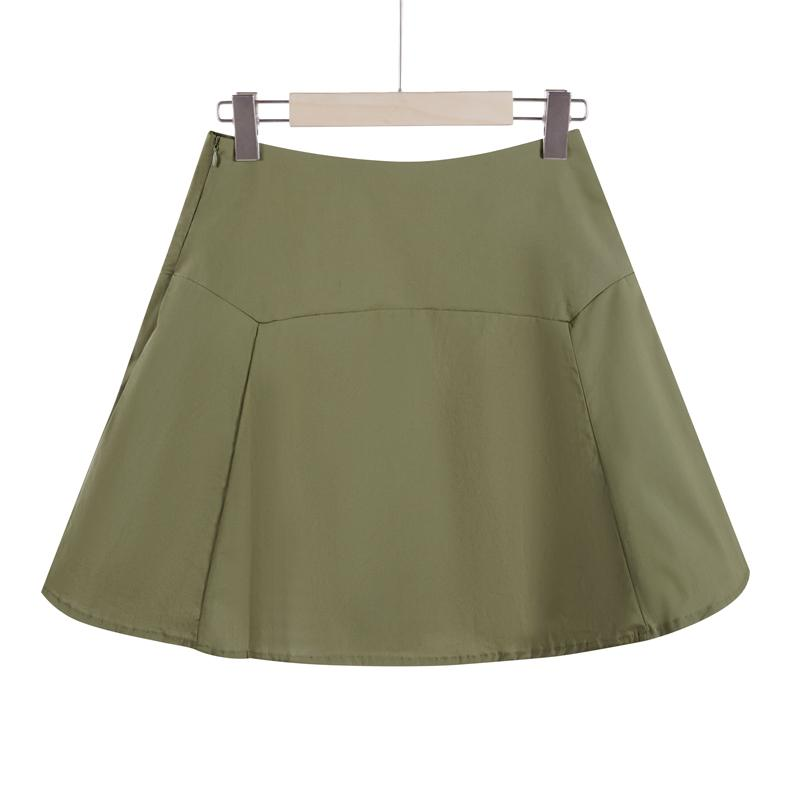 The Keira Cotton Mini Skirt - Green-Skirt-ElegantFemme