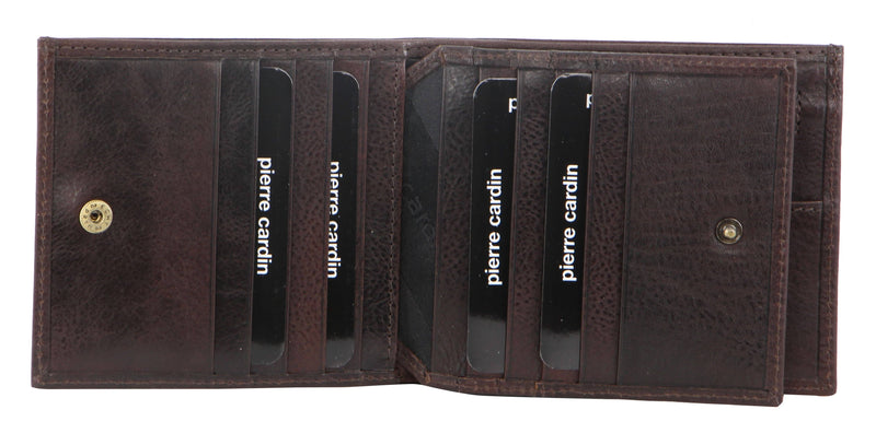 PIERRE CARDIN ITALIAN LEATHER TRI-FOLD WALLET (PC8781) - CHOCOLATE-Men's Wallet-ElegantFemme