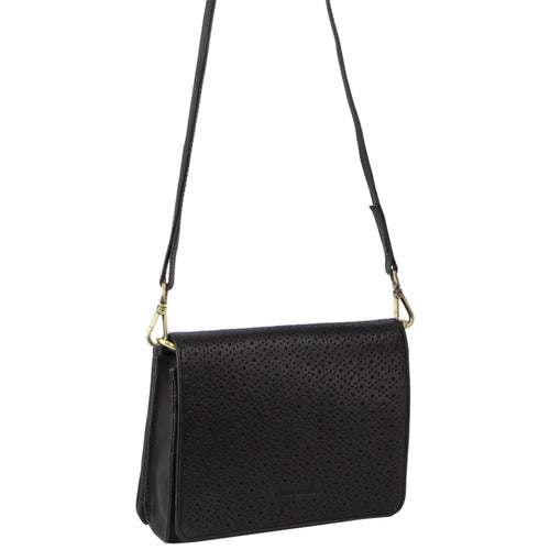 PIERRE CARDIN PERFORATED LEATHER CROSS BODY BAG (PC3236) - BLACK-Women's Crossbody Bag-ElegantFemme