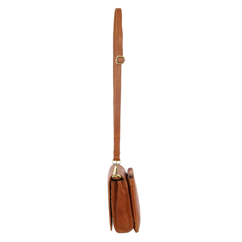 PIERRE CARDIN PERFORATED LEATHER CROSS BODY BAG (PC3236) - COGNAC-Women's Crossbody Bag-ElegantFemme