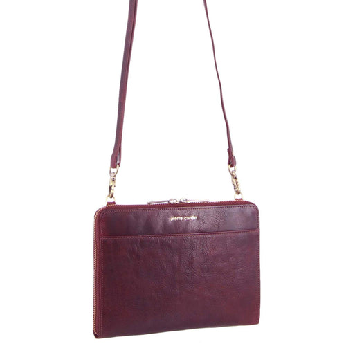 PIERRE CARDIN RUSTIC LEATHER CROSS BODY BAG/CLUTCH (PC3232) - CHERRY-Women's Crossbody Bag-ElegantFemme