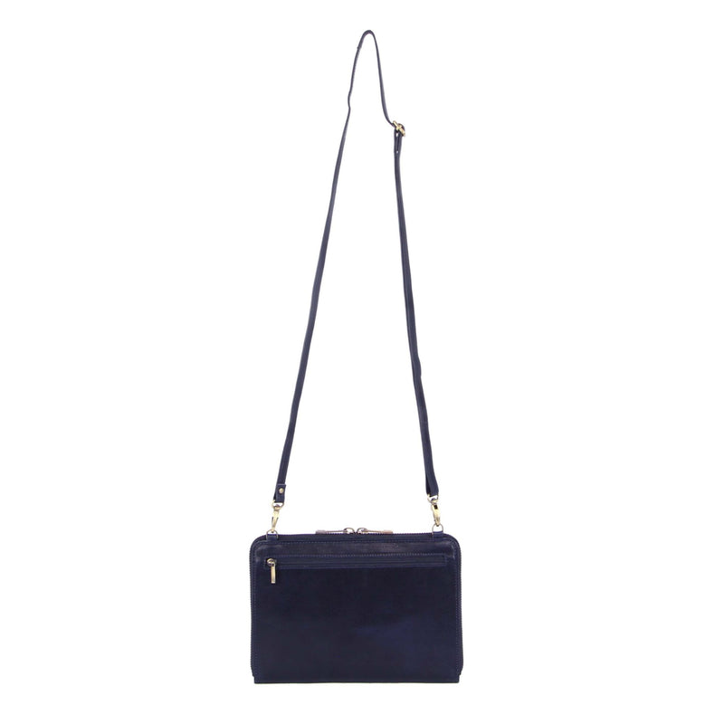 PIERRE CARDIN RUSTIC LEATHER CROSS BODY BAG/CLUTCH (PC3232) - MIDNIGHT-Women's Crossbody Bag-ElegantFemme