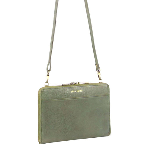 PIERRE CARDIN RUSTIC LEATHER CROSS BODY BAG/CLUTCH (PC3232) - MINT-Women's Crossbody Bag-ElegantFemme
