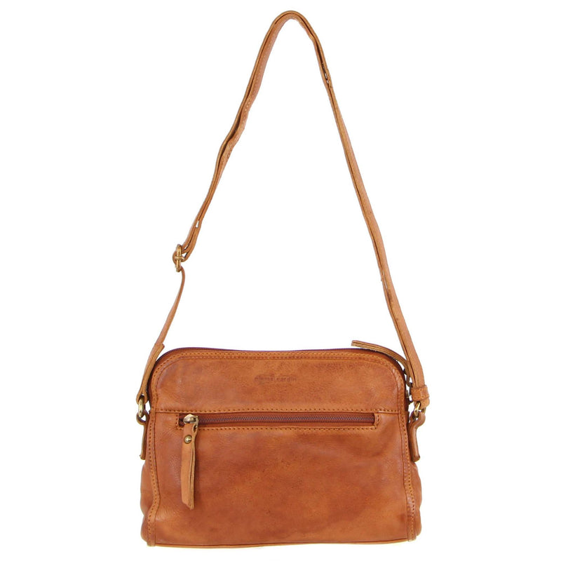 PIERRE CARDIN WOVEN RUSTIC LEATHER CROSS-BODY BAG (PC3121) - COGNAC-Women's Crossbody Bag-ElegantFemme
