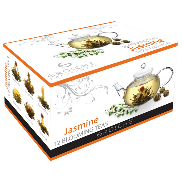 GROSCHE Hand made premium 12 blooming tea variety pack Green