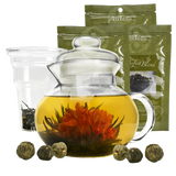 Primula Flowering Tea Set with 40 Ounce Blossom Teapot with 6 Flowering Teas and Loose Tea Variety Pack
