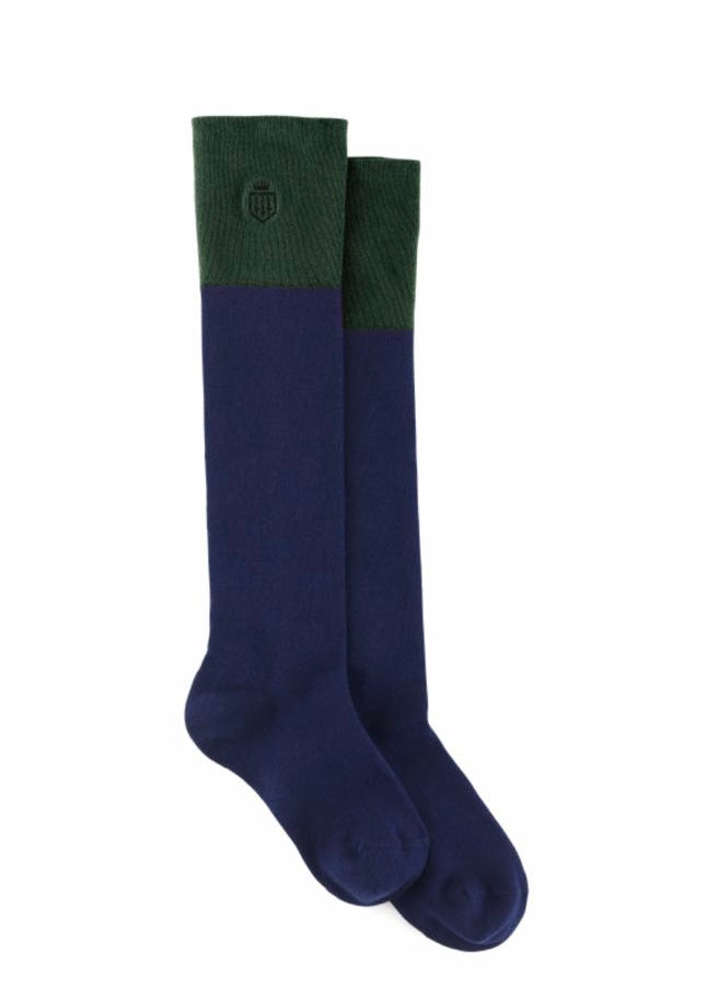Fairfax & Favor Signature Knee High Socks Forest Green & Navy