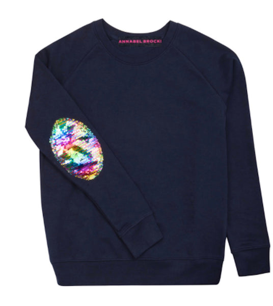 Navy with Sequin Rainbow Elbow Patch by Annabel Brocks
