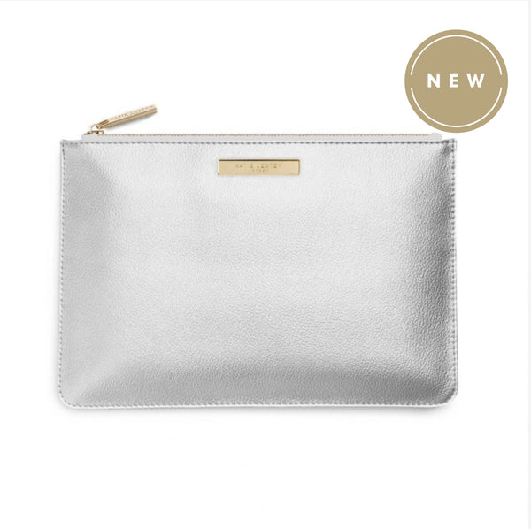 Katie Loxton Soft Pebble Perfect Pouch Bag - Silver