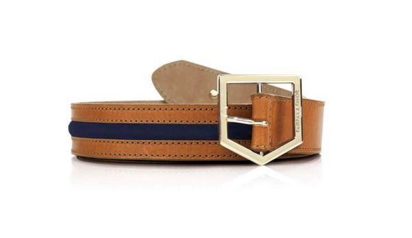 Fairfax & Favor Hampton Tan/ Navy Leather and Suede Belt