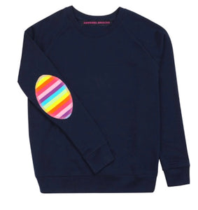 Annabel Brocks Navy Jumper with rainbow elbow patch