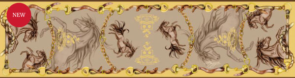 Hold Your Horses Classic Silk Scarf by Clare Haggas Toffee & Gold
