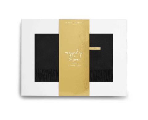 Wrapped Up In Love Boxed Scarf - Black by Katie Loxton