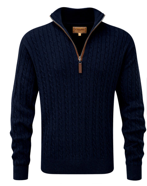 Cotton Cashmere Cable 1/4 Zip Jumper in Navy by Schoffel