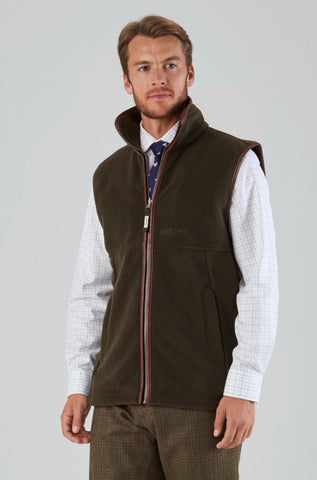 Oakham Fleece Gilet - Dark Olive by Schoffel