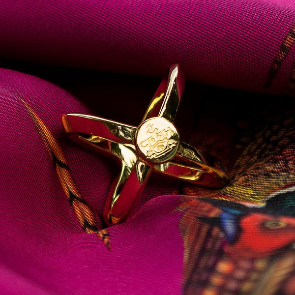 Clare Shaw (Clare Haggas ) Scarf Ring Gold