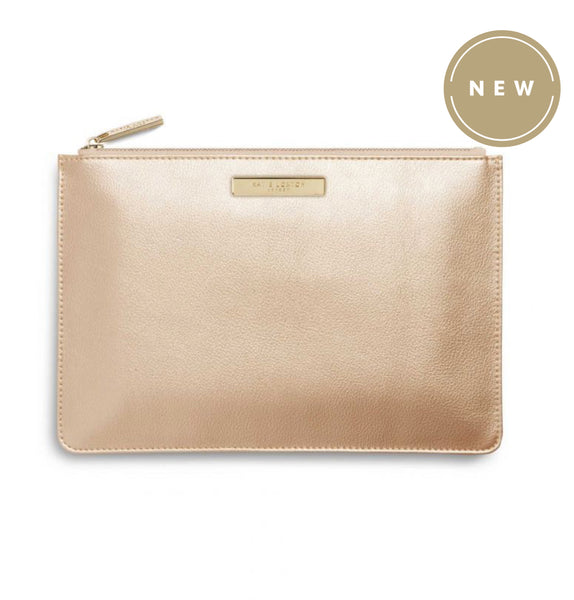Katie Loxton Soft Pebble Perfect Pouch Bag -Metallic Champagne