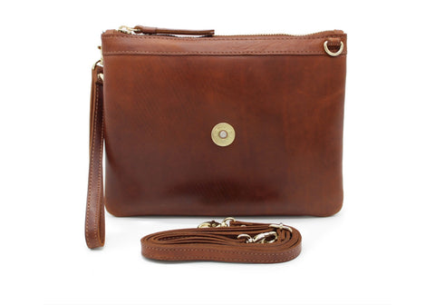 Charlton Cartidge Clutch Bag In Cognac by Hicks & Hides