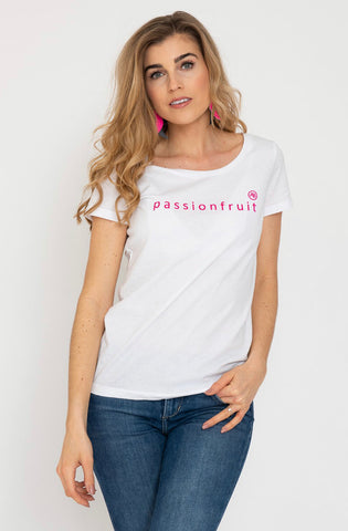 Annabel Brocks White T-Shirt with Pink Passionfruit Logo